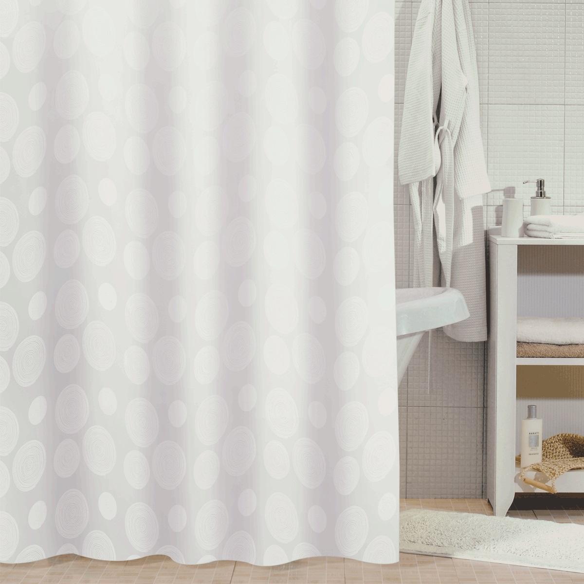 Штора для ванной Milardo White Mist, цвет: белый, 180 x 180 см