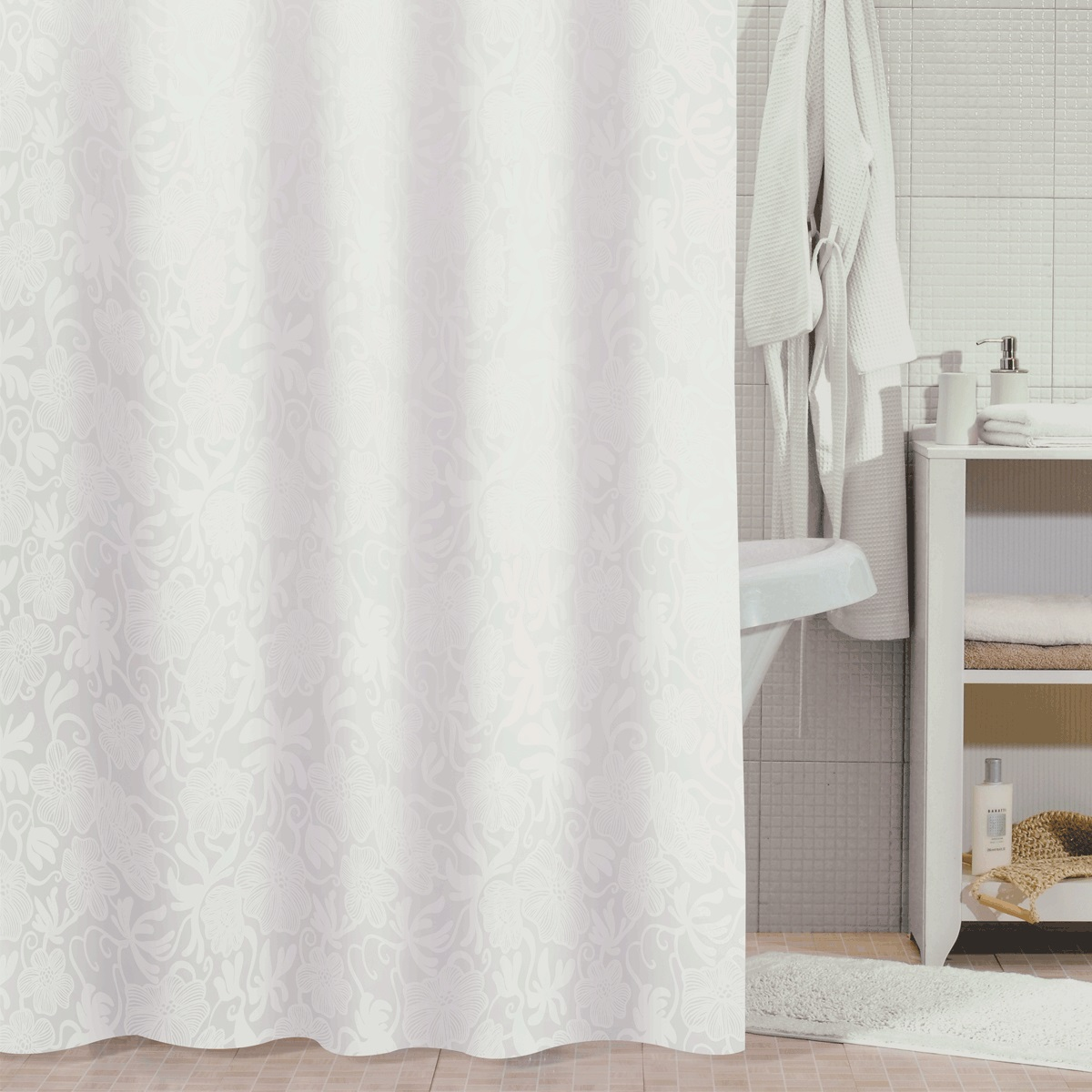 "Штора для ванной Milardo ""White Shadows"", цвет: белый, 180 x 180 см"