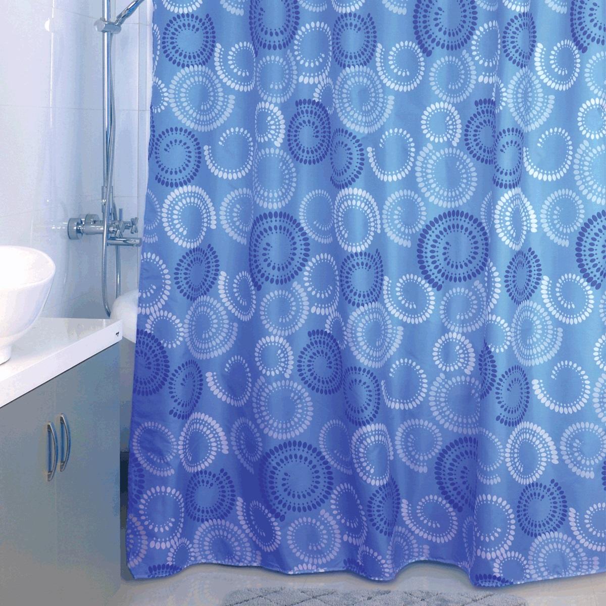 Штора для ванной Milardo Ultramarine Dots, цвет: синий, 180 x 200 см