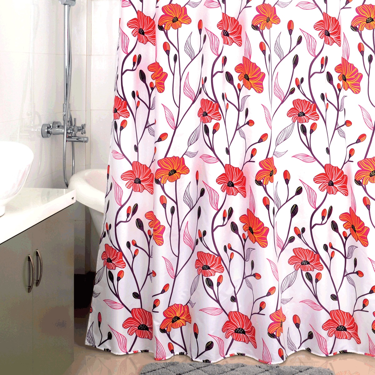 "<b>Штора для ванной Milardo</b> ""Red Asters"", цвет: белый, красный ..."