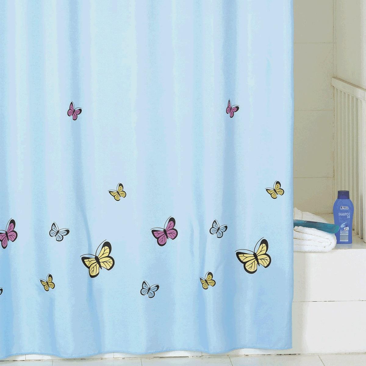 Штора для ванной Iddis Blue Butterfly, цвет: голубой, 200 x 200 см