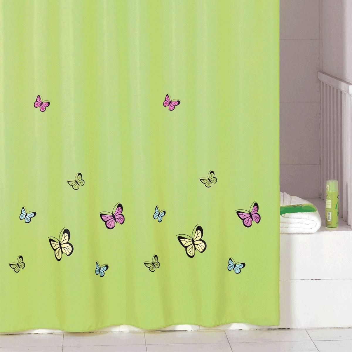 Штора для ванной Iddis Green Butterfly, цвет: зеленый, 200 x 200 см штора для ванной iddis blue butterfly цвет голубой 200 x 200 см