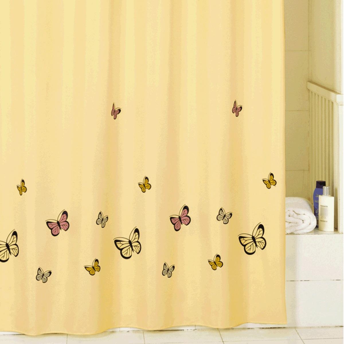 Штора для ванной Iddis Yellow Butterfly, цвет: желтый, 200 x 200 см штора для ванной iddis blue butterfly цвет голубой 200 x 200 см