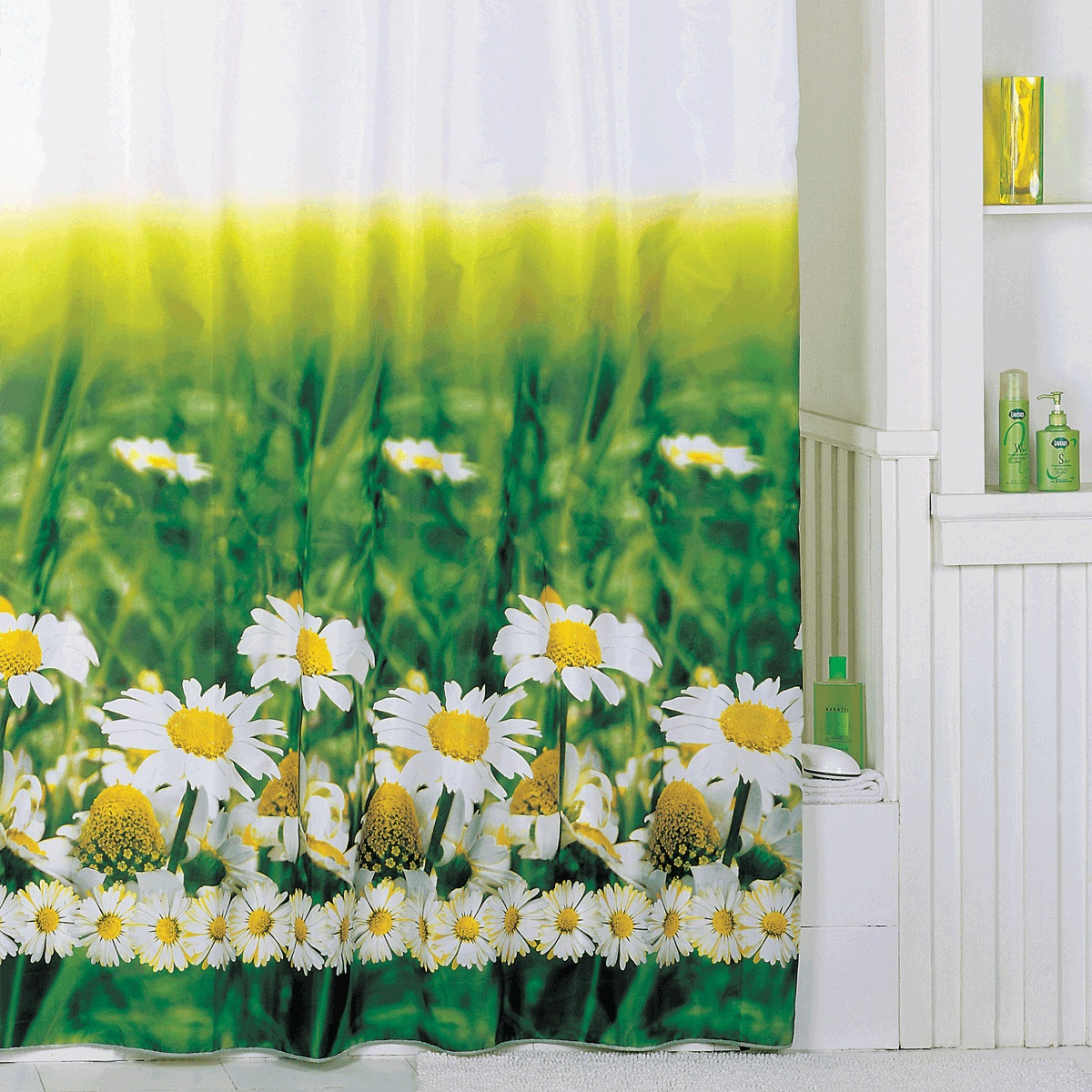 Штора для ванной Iddis Daizy Garden, цвет: белый, зеленый, 200 x 200 см штора для ванной iddis blue butterfly цвет голубой 200 x 200 см