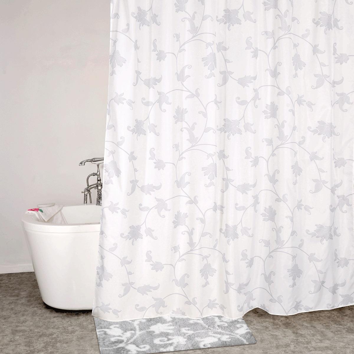 Штора для ванной Iddis Elegant Silver, цвет: белый, серый, 200 x 200 см штора для ванной iddis blue butterfly цвет голубой 200 x 200 см