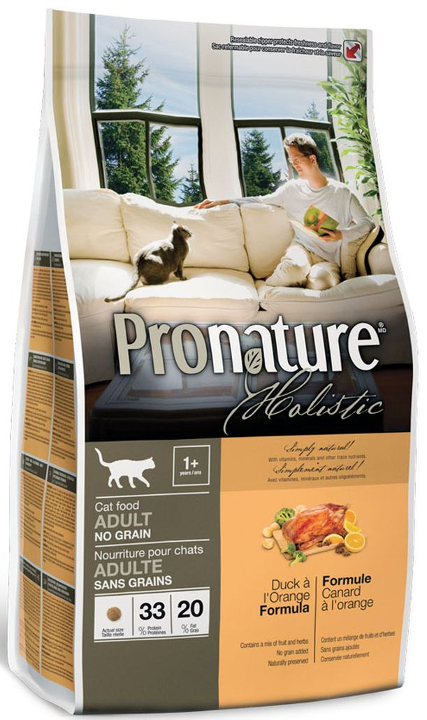 """Корм сухой """"Pronature Holistic"""", для кошек, беззерновой, утка с апельсином, 340 г"""