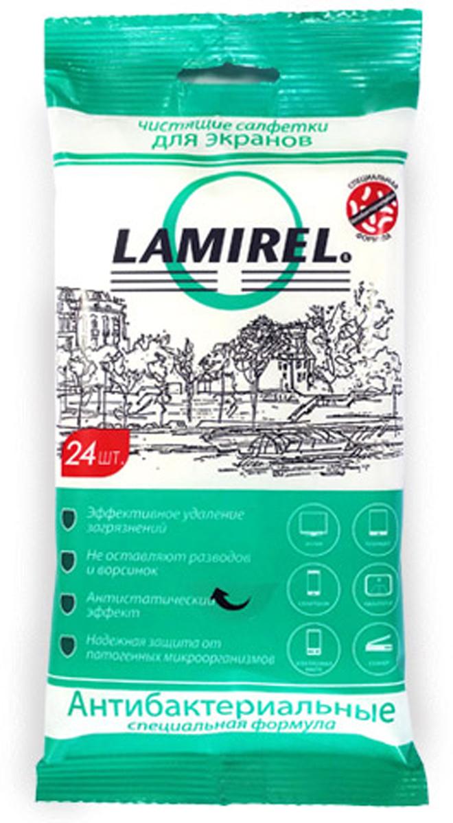 Lamirel LA-21617антибактериальные чистящие салфетки для экранов всех типов, 24 шт Lamirel
