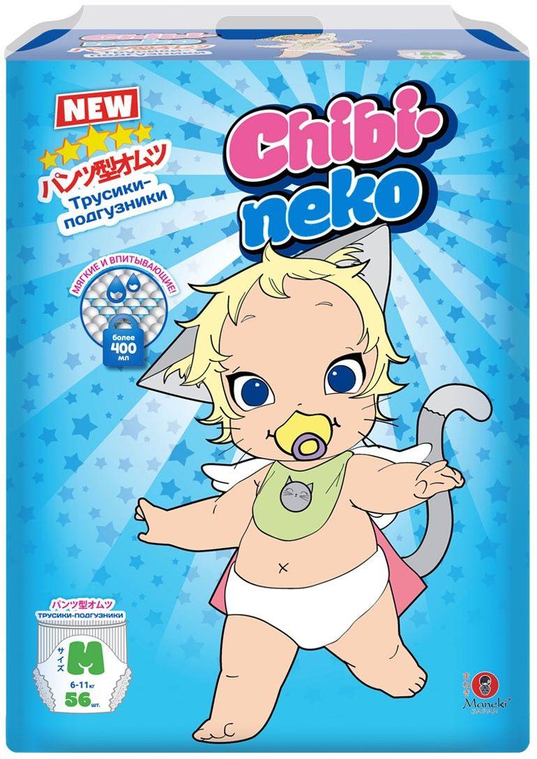 Maneki Подгузники-трусики детские одноразовые Chibi-Neko размер M 6-11 кг 56 шт