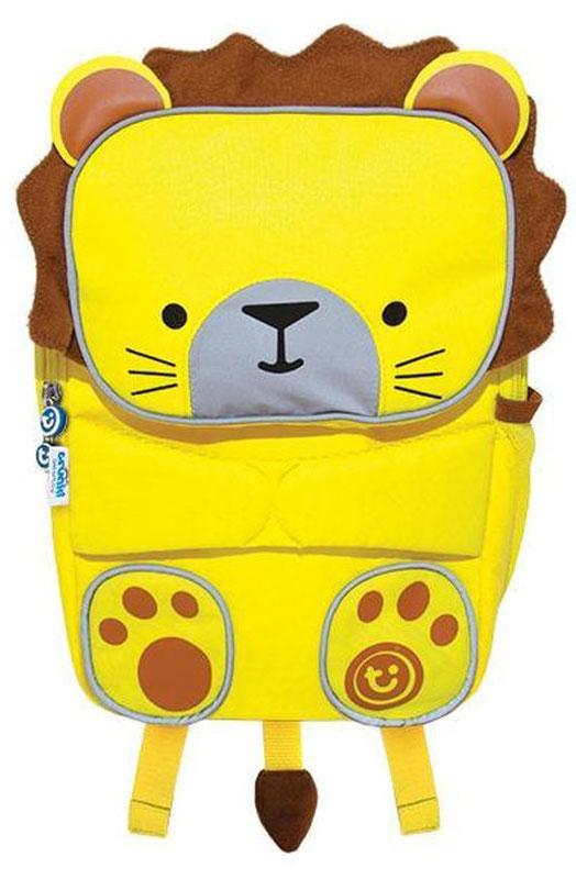 Trunki Рюкзак дошкольный Львенок0327-GB01Рюкзак Toddlepak Львенок обязательно понравится малышам и станет любимым спутником в детский сад или на прогулку. Рюкзак выгладит очень мило и компактно, но обладает хорошей вместимостью - объем рюкзака 4 литра. У рюкзака одно основное отделение и удобный карман на молнии в виде мордочки зверька. В карман можно положить необходимые мелочи. Также сбоку есть эластичный сетчатый карман для бутылочки с напитком. Рюкзак Toddlepak оснащен специальным креплением Trunki grip™, с помощью которого к рюкзаку можно подвесить детские солнцезащитные очки. Для безопасности детей в темное время суток на рюкзаке есть светоотражающие полоски по контуру мордочки и лапок зверька. Спинка и лямки рюкзака на внутренней поверхности выполнены из мягкой и дышащей сетчатой ткани. Есть защитный нагрудные ремень, который обеспечивает эргономичную посадку рюкзака. Малыши смогут взять с собой и любимую плюшевую игрушку, продев ее в специальный ремешок в виде лапок зверька. Выгладит очень мило, как будто рюкзачок обнимает игрушку. Детский рюкзак Trunki Toddlepak прекрасно подойдет для походов в детский сад или на занятия в кружках, в бассейн или просто на прогулки. Ребенку непременно понравится этот яркий, стильный аксессуар, который станет для него забавным и удобным спутником. Рекомендуем!