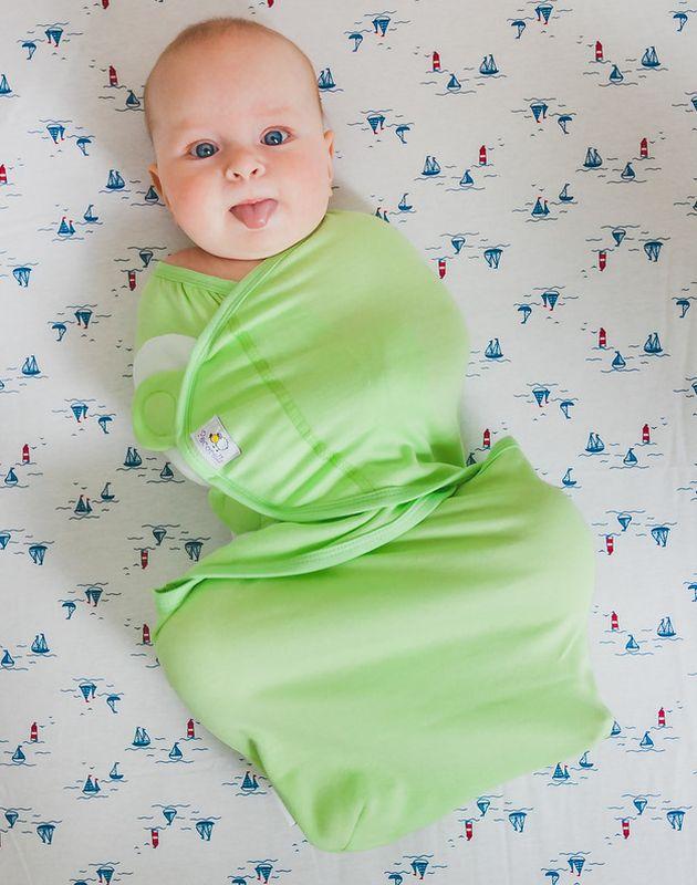 Pecorella Пеленка на липучках SwaddleFun Light Green Размер XL 6,5-10 кг для крещения пеленка