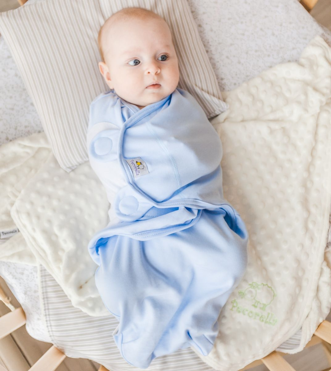 Pecorella Пеленка на липучках SwaddleFun Ocean Blue Размер L 4,5-8,5 кг для крещения пеленка