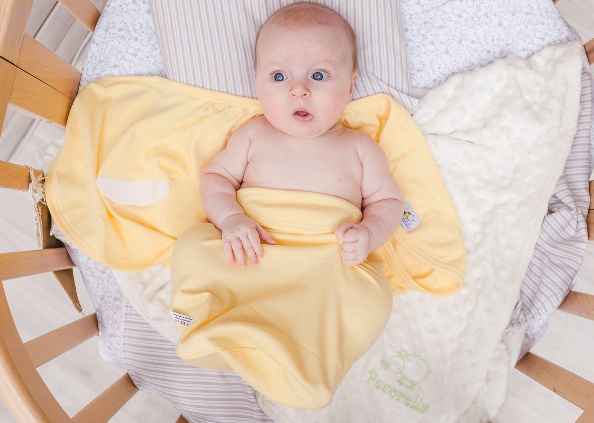 Pecorella Пеленка на липучках SwaddleFun Mid Yellow Размер L 4,5-8,5 кг для крещения пеленка