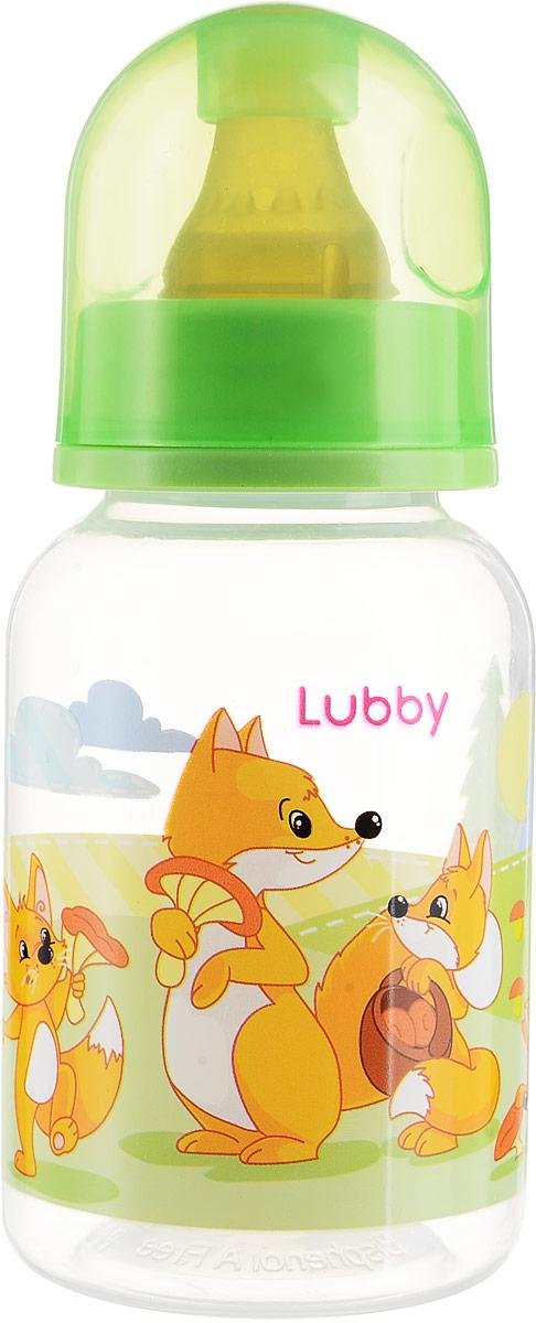 Lubby Бутылочка для кормления с латексной соской Веселые животные Лисички от 0 месяцев 125 мл lubby бутылочка для кормления с латексной соской веселые животные от 0 месяцев 125 мл