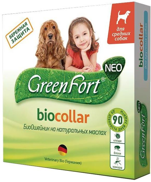 """Био-ошейник """"GreenFort Neo"""" для средних собак, цвет: зеленый, 65 см"""