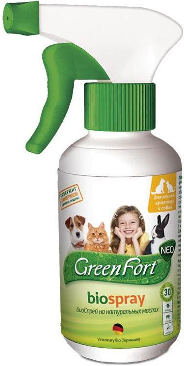 Био-спрей GreenFort Neo для кошек, кроликов и собак, от клещей, блох, вшей, власоедов, комаров, слепней, 200 мл спрей от клещей для животных