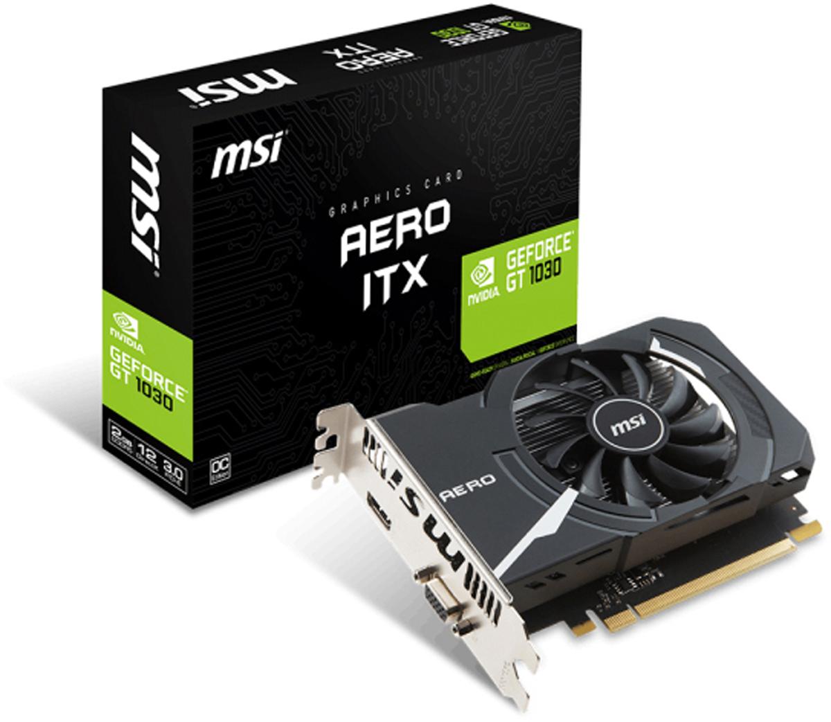 Видеокарта MSI GeForce GT 1030 AERO ITX OC 2GB видеокарта видеокарта msi geforce® gt 1030 gt 1030 aero itx 2gd4 oc 2гб gddr4 retail