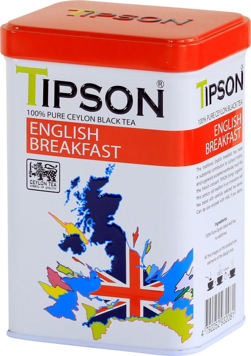 Tipson Английский завтрак черный листовой чай, 85 г чай eilles английский завтрак био черный 20 пакетиков пирамидок