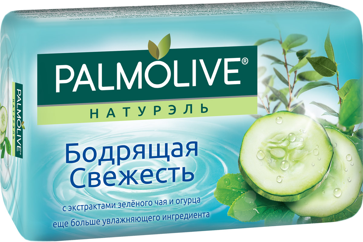 """Palmolive Мыло туалетное Натурэль """"Бодрящая свежесть"""", с экстрактами зеленого чая и огурца, 90 г"""