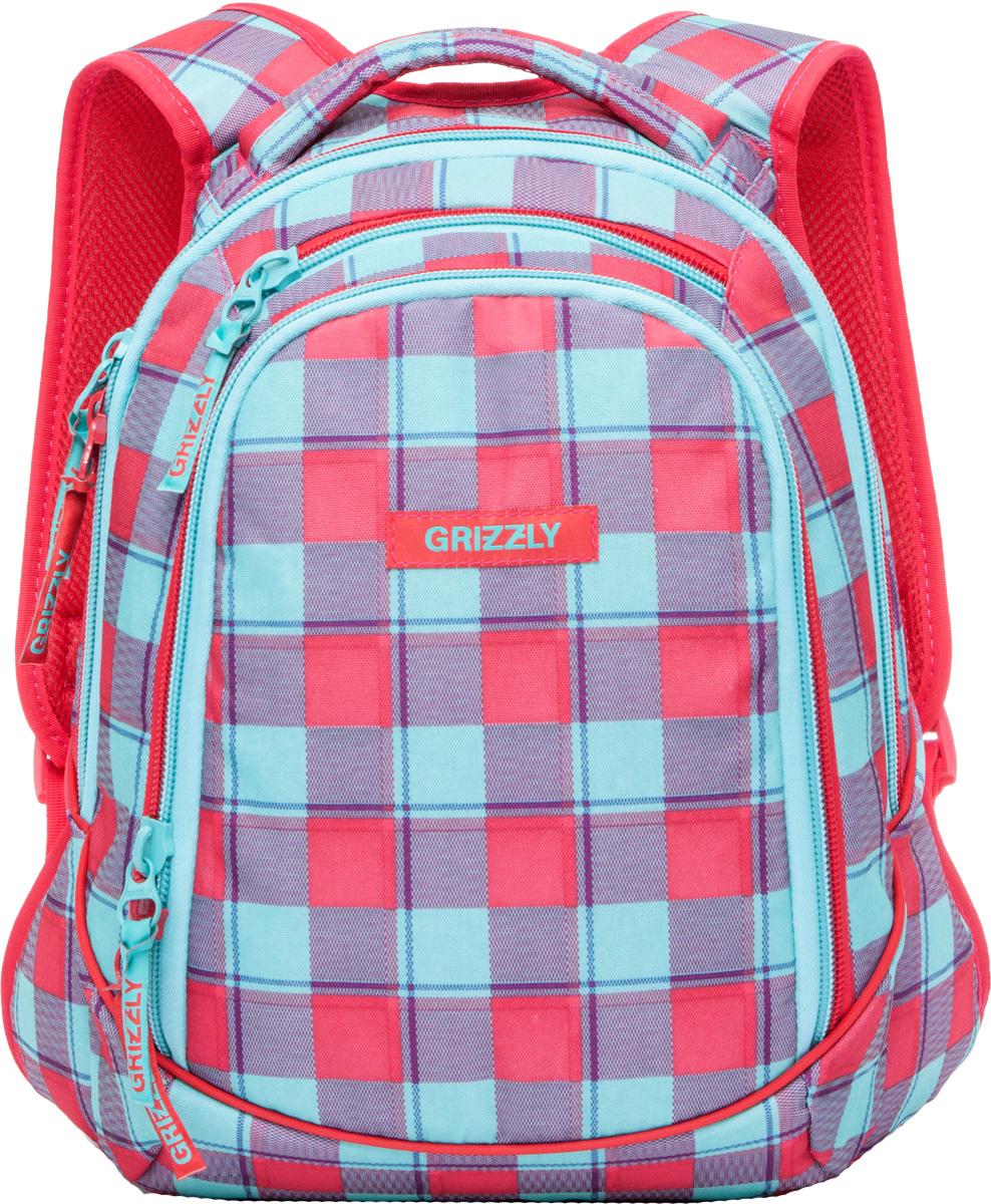Рюкзак молодежный женский Grizzly, цвет: красный, 14,5 л. RD-756-1/7 рюкзак молодежный женский grizzly цвет серый розовый 12 5 л rd 755 2 2