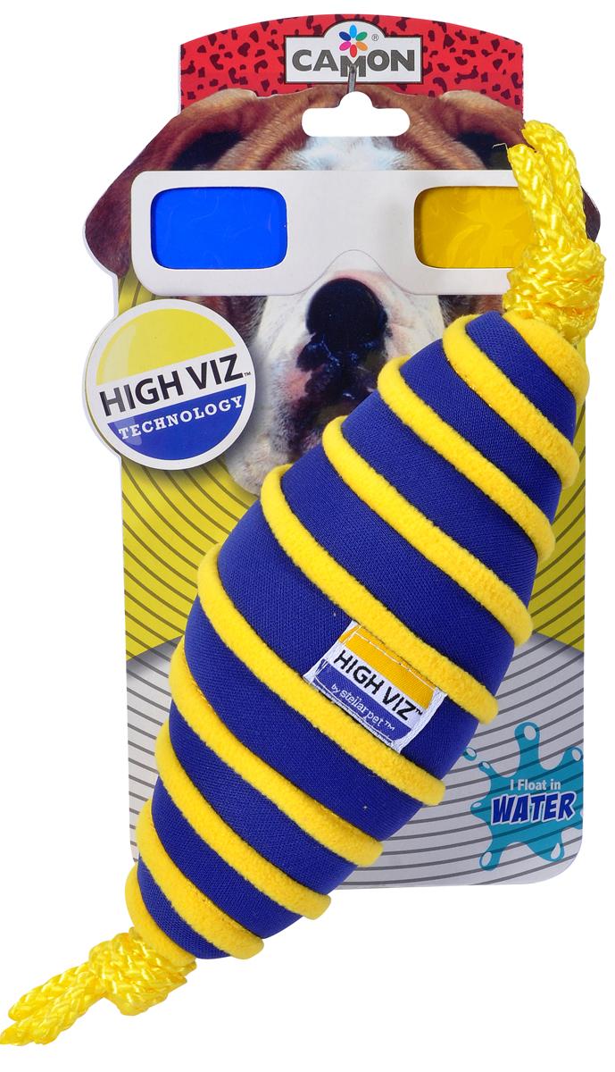 Игрушка для собак Camon HighViz. Веретено, с пищалкой, цвет: синий, желтый, длина 25 см игрушка для собак camon рыбка с пищалкой цвет белый красный 10 х 6 х 6 3 см