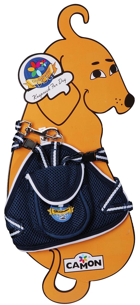 Шлейка для собак Camon, с поводком, цвет: синий, 40 см. Размер S шлейка для собак camon с поводком нейлоновая цвет фиолетовый 1 х 120 см dc064 a