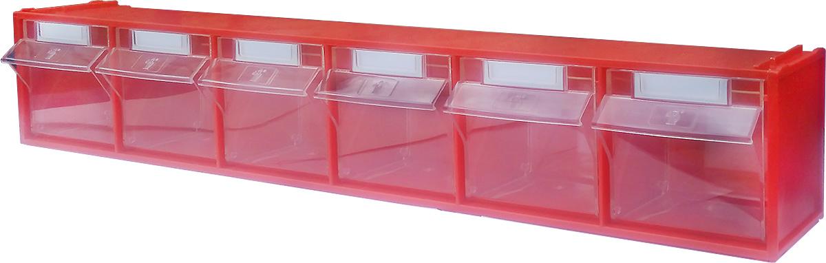 Короб откидной Стелла FOX-102, цвет: красный, прозрачный, 6 ячеек, 60 х 9,4 х 11,2 см пластборд union coral цвет прозрачный дека 71 х 19 см
