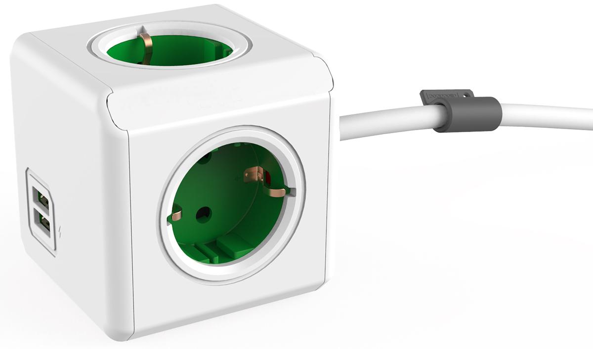 Allocacoc Extended USB, Green сетевой разветвитель