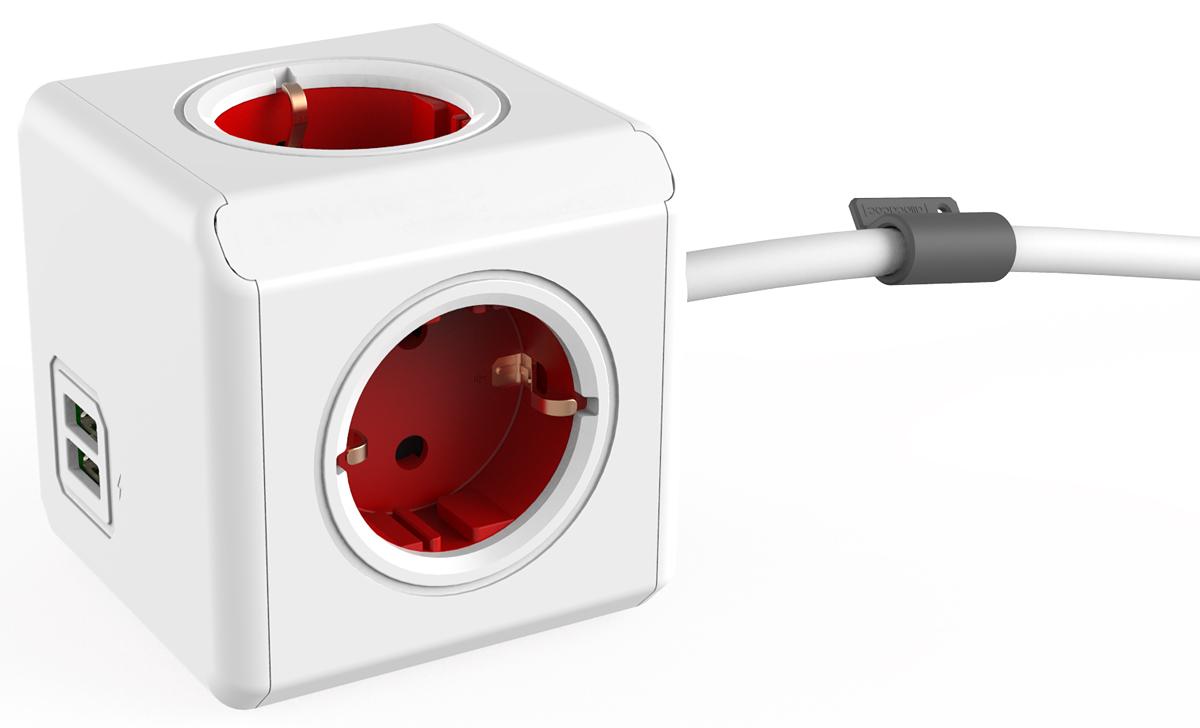 Allocacoc Extended USB, Red сетевой разветвитель