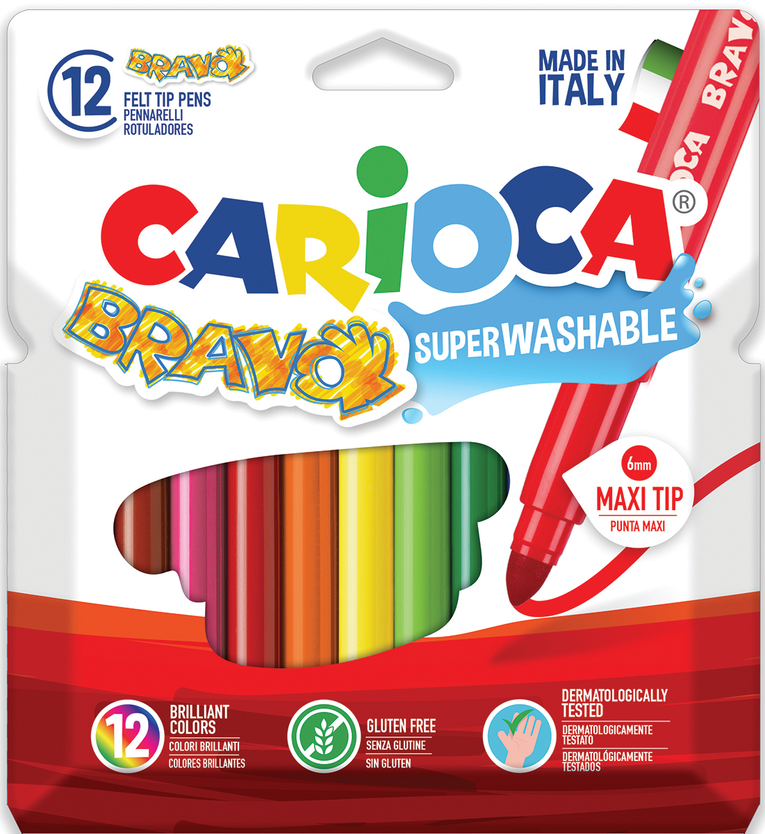 Carioca Набор фломастеров Bravo 12 цветов набор фломастеров carioca bravo 24 цв в карт конверте с европодвесом 42763