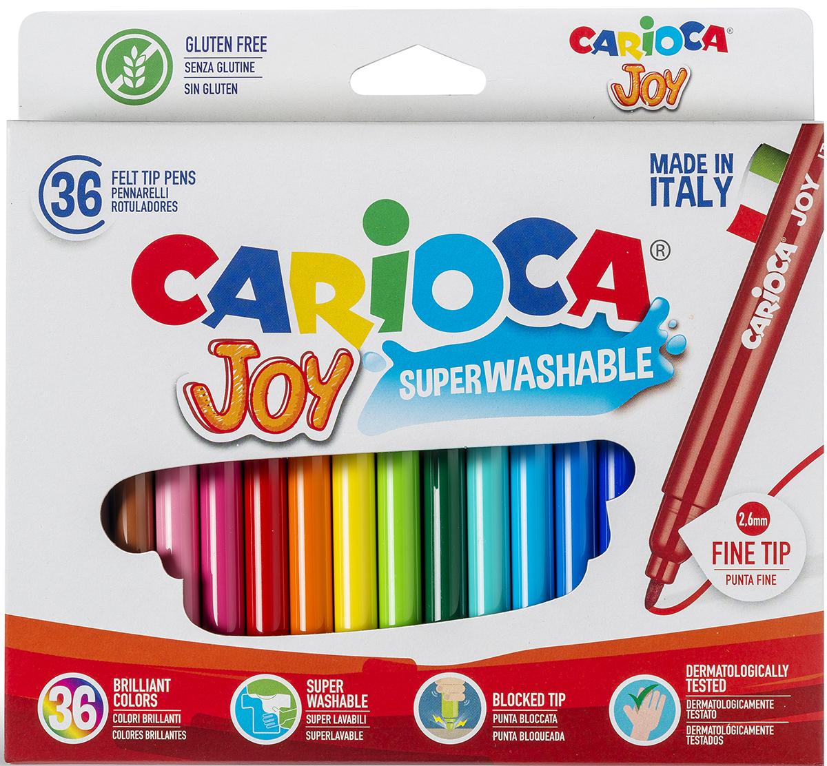 Набор фломастеров Carioca Joy, 36 цветов carioca набор фломастеров carioca joy 60 цв в чемоданчике картонном