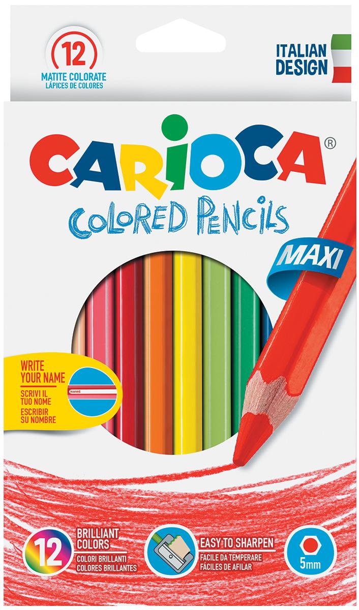 Набор крупных цветных деревянных карандашей CARIOCA MAXI, 12 цв.,в картонной коробке с европодвесом carioca набор крупных пластиковых мелков plastello maxi 12 цветов