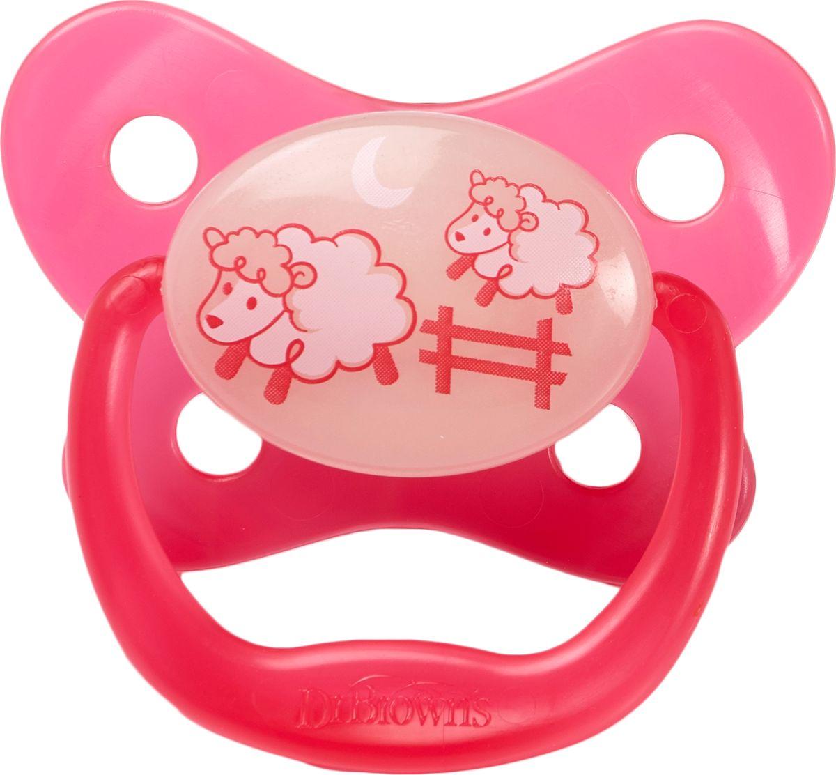 Dr. Brown's Пустышка для сна PreVent от 0 до 6 месяцев цвет розовый