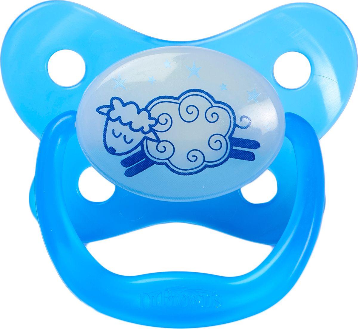 Dr. Brown's Пустышка для сна PreVent от 0 до 6 месяцев цвет голубой