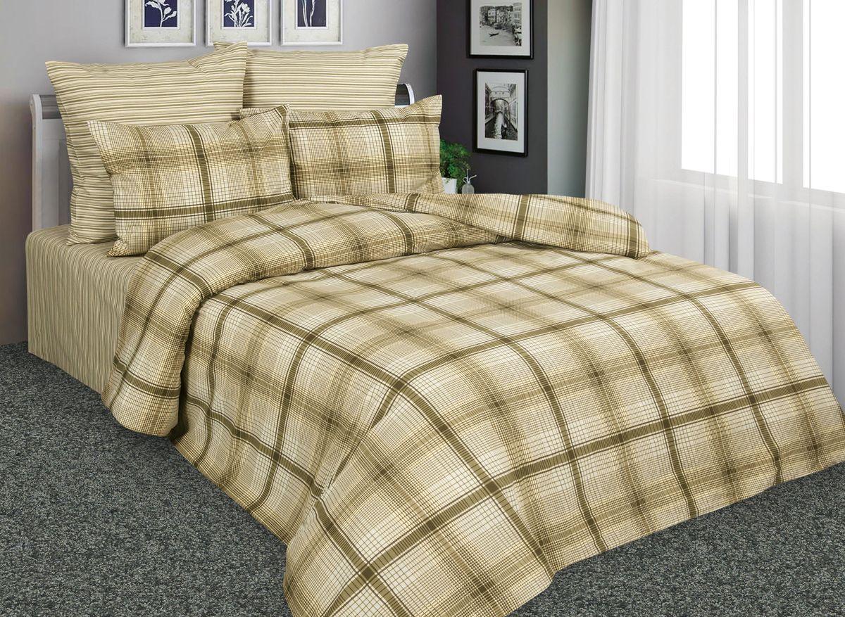 Комплект белья Amore Mio Шотландия, 2-спальный, наволочки 70x70, цвет: коричневый, бежевый. 88526