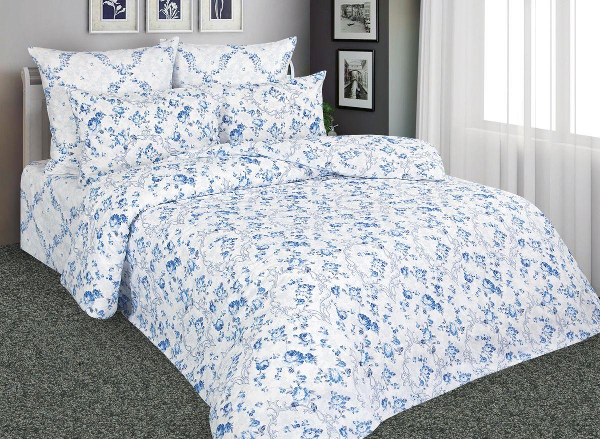 Комплект белья Amore Mio Гжель, 2-спальный, наволочки 70x70, цвет: белый, синий, голубой. 88530
