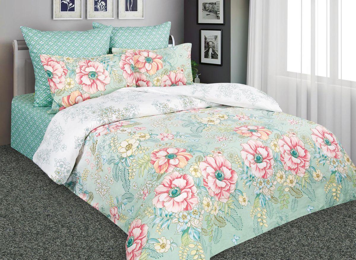 Комплект белья Amore Mio Дивный сад, евро, наволочки 70x70, цвет: зеленый, розовый. 88534