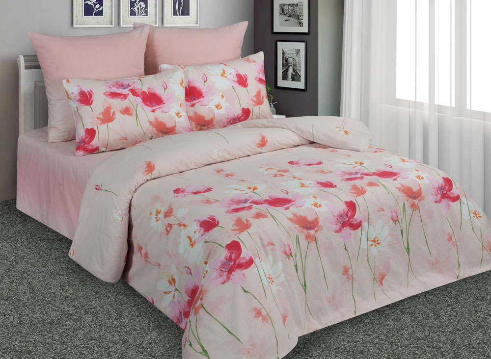 Комплект белья Amore Mio Маки, евро, наволочки 70x70, цвет: розовый. 89210