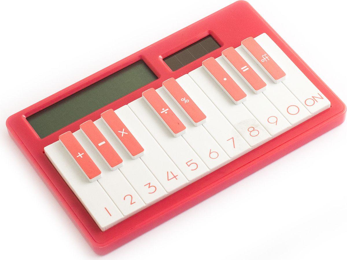 Эврика Калькулятор настольный Пианино цвет светло-красный калькулятор canon as 888
