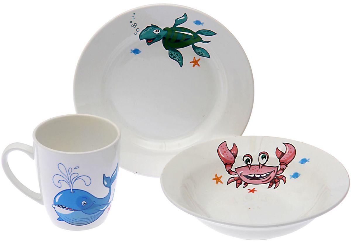 Кубаньфарфор Набор посуды для кормления Море 3 предмета lubby набор посуды для кормления 3 предмета цвет оранжевый