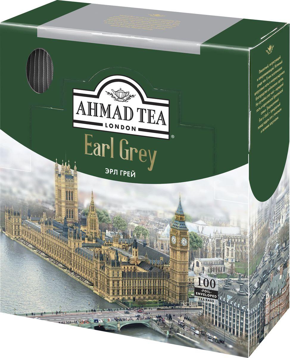 Ahmad Tea Earl Grey черный чай в пакетиках с ярлычками, в конвертах из фольги, 100 шт ahmad tea english tea no 1 черный чай в пакетиках с ярлычками в конвертах из фольги 25 шт