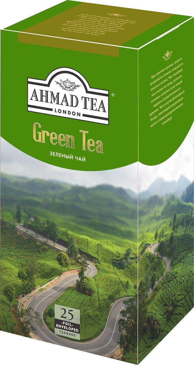 Ahmad Tea зеленый чай в пакетиках с ярлычками, в конвертах из фольги, 25 шт ahmad tea english tea no 1 черный чай в пакетиках с ярлычками в конвертах из фольги 25 шт