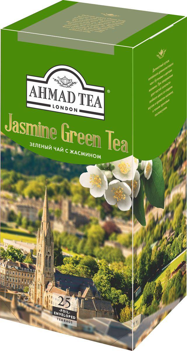 Ahmad Tea зеленый чай с жасмином в пакетиках с ярлычками, в конвертах из фольги, 25 шт цена 2017
