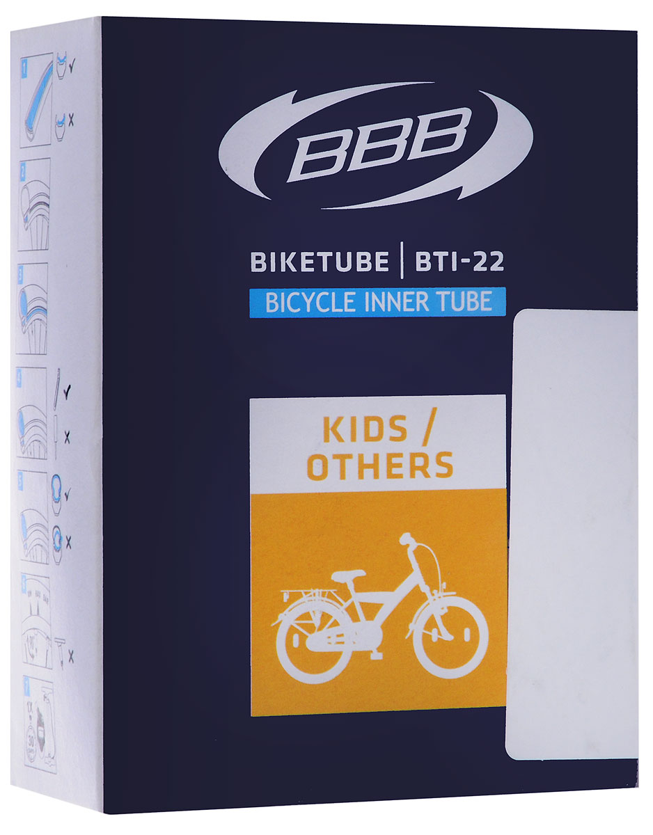 """Камера велосипедная """"BBB"""", 1,3/8 AV 40 mm, 20"""". BTI-22"""