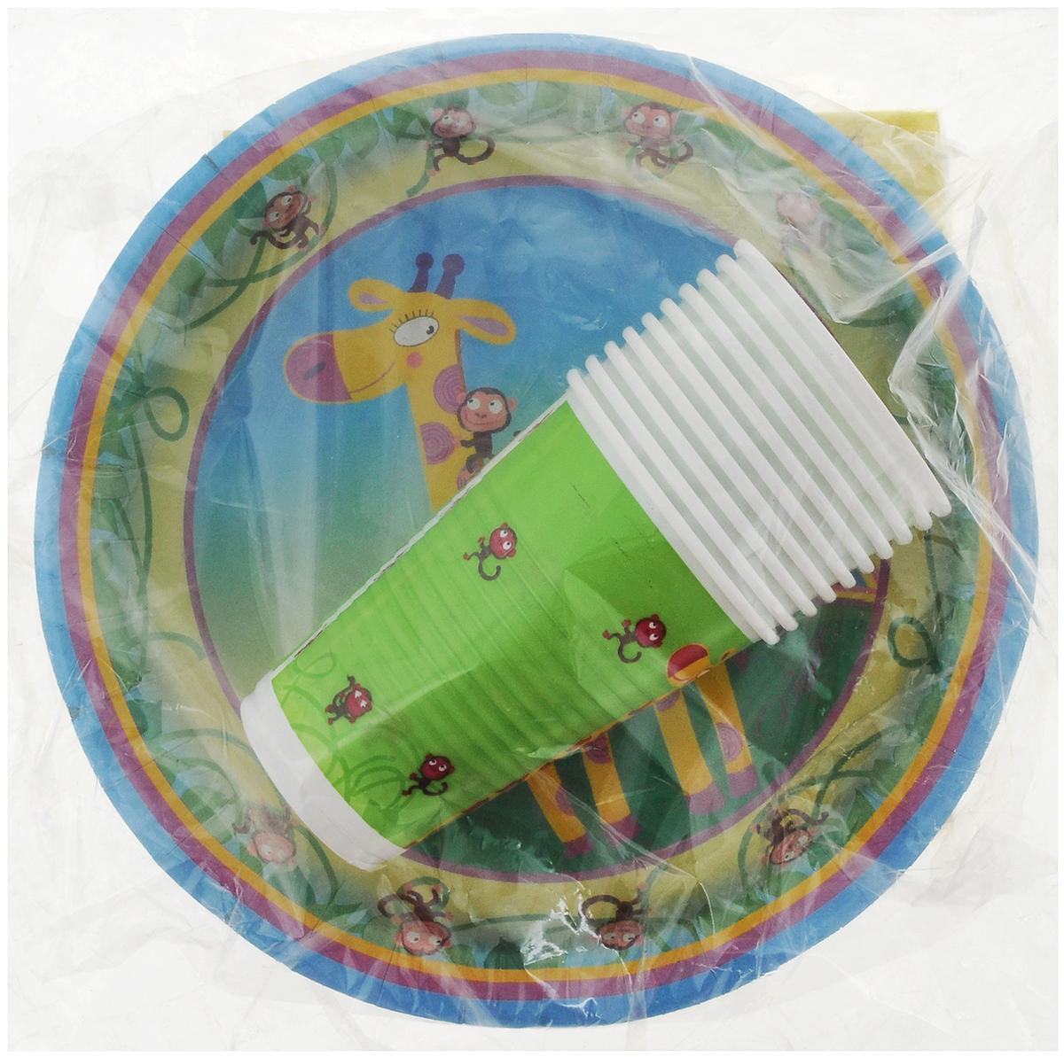 Набор одноразовой посуды Мистерия Детский, цвет: зеленый, 40 предметов набор посуды hoffberg 17 предметов цвет белый 1729hff