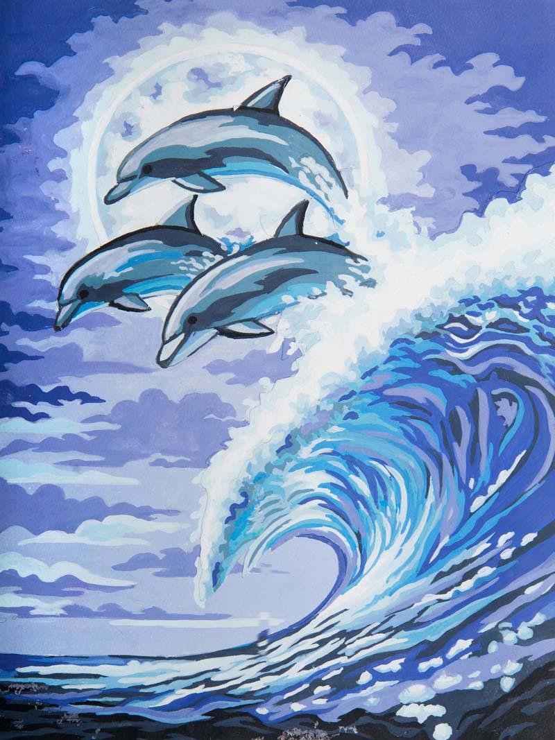 Картинки дельфинов в море рисунки