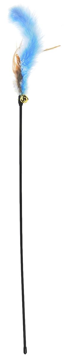 Игрушка для кошек V.I.Pet Дразнилка, с колокольчиком, цвет: черный, голубой, коричневый, длина 61 см игрушка для кошек 1 лабиринт с двумя мячиками и дразнилкой цвет серый 28 x 5 x 28 см