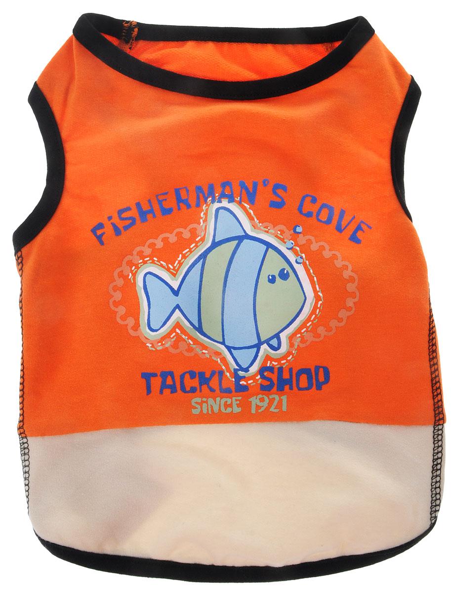 "Майка для собак Каскад ""Fisherman'S сove"", унисекс, цвет: оранжевый. Размер M"
