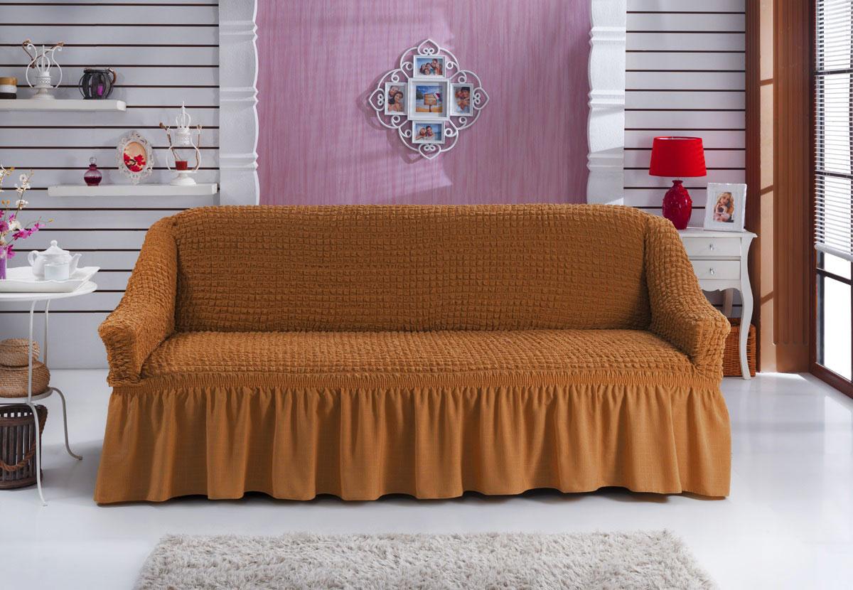 Чехол для дивана Burumcuk Bulsan, трехместный, цвет: горчичный чехол для дивана burumcuk bulsan угловой левосторонний пятиместный цвет вишневый
