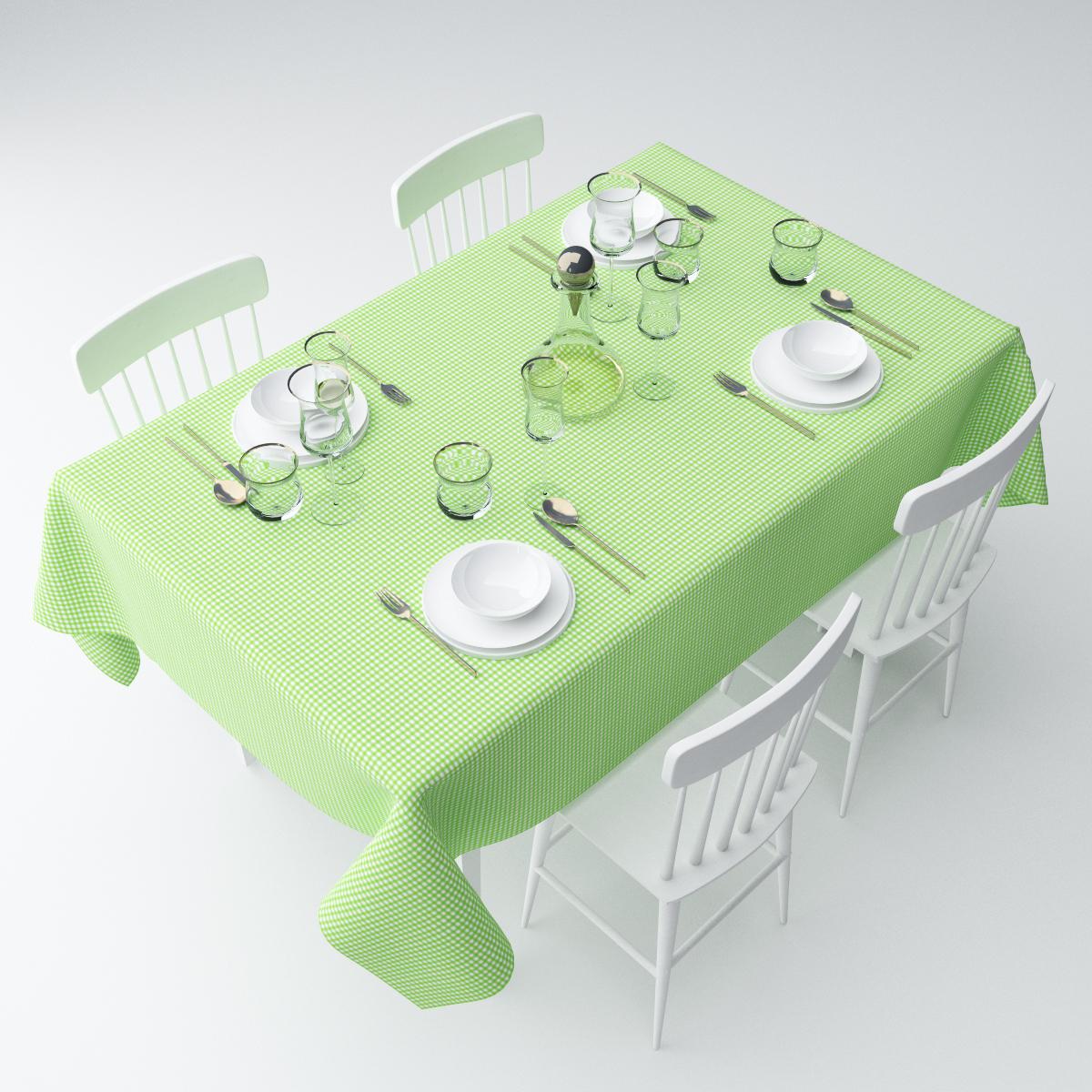 """Скатерть Сирень """"Зеленая клетка"""", прямоугольная, 145 х 220 см"""