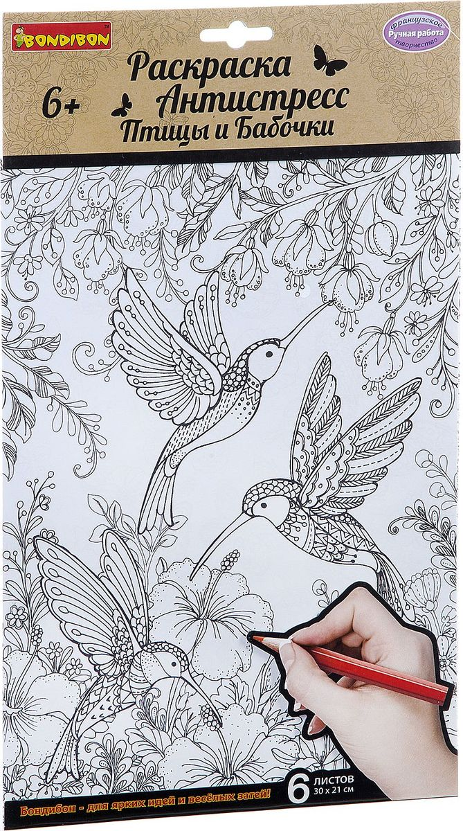 Bondibon Раскраска Птицы и Бабочки